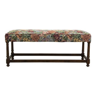 Mid-Century Walnut Bench With Floral Cushion For Sale