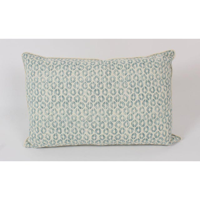 Abstract Seafoam Linen Ogee Blocked Lumbar Pillows, a Pair For Sale - Image 3 of 6