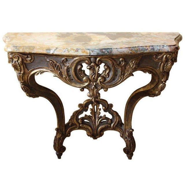 Marble Early 18th Century Antique French Louis XV Console Table For Sale - Image 7 of 7