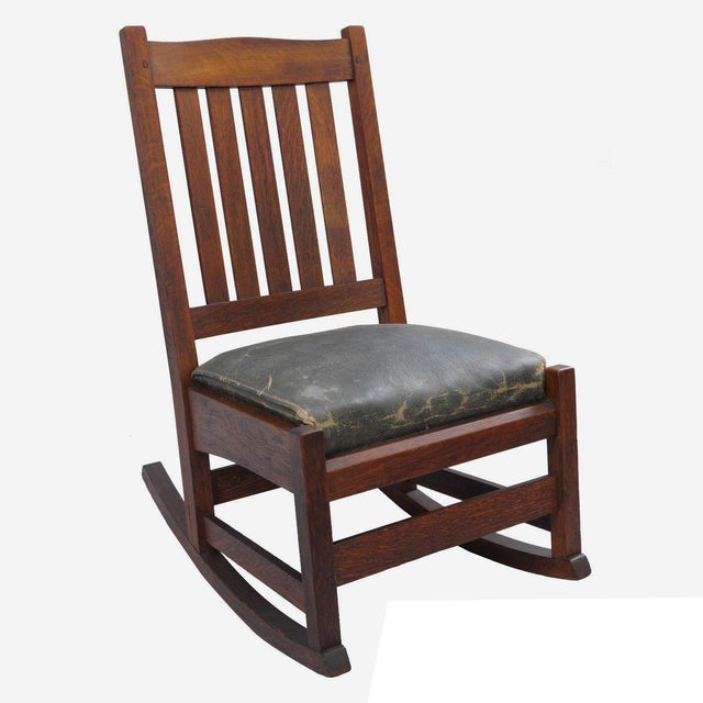 L. & J.G. Stickley, Inc. Mission Oak Youth Nursing Rocking Chair For Sale - Image 11 of 11