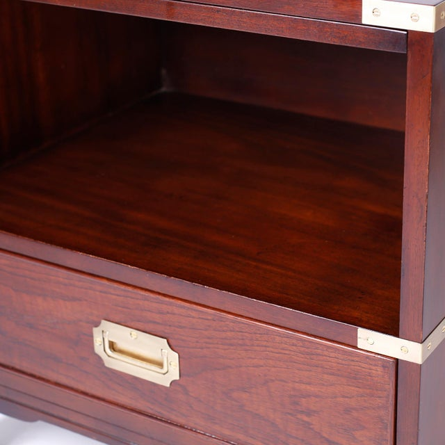 Midcentury Campaign Style Nightstands - A Pair For Sale - Image 9 of 10