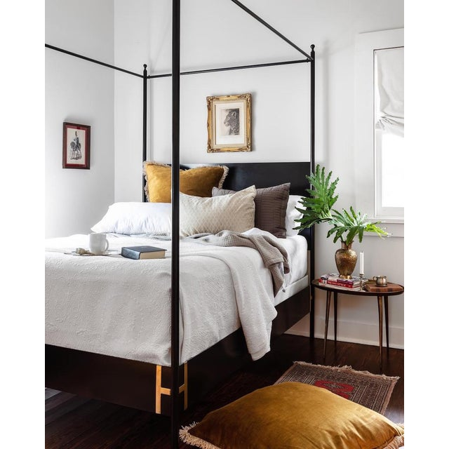 The Josephine Bed: four poster king sized black metal canopy bed is a refreshing modern update on a classic French canopy...