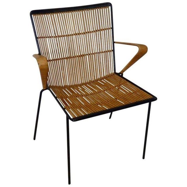 Wrought Iron Frame Franco Albini Style Rattan Chair For Sale - Image 10 of 10