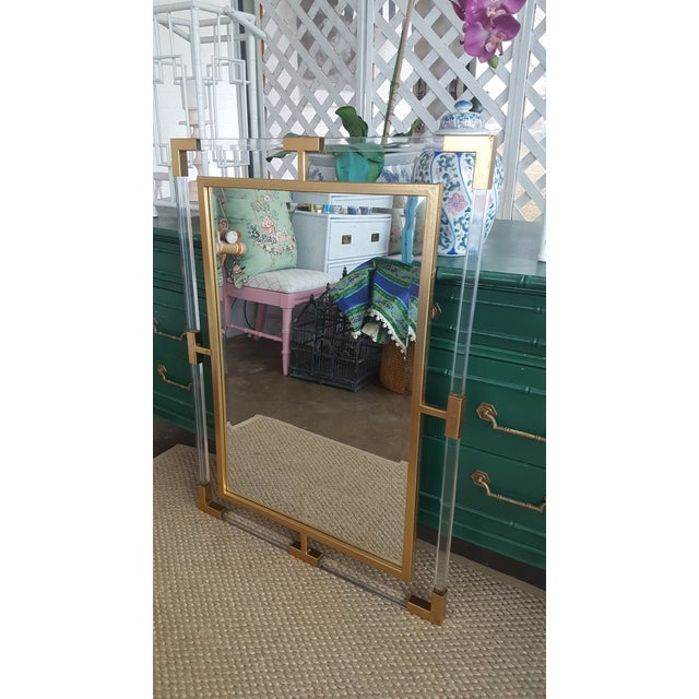 Large Lucite and Gold Metal Beveled Mirror - Image 5 of 9