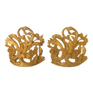 French Bronze Crown Architectural Elements, Pair For Sale