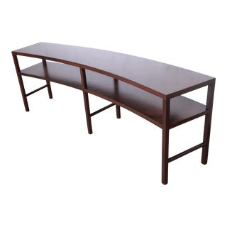 Rare Robsjohn-Gibbings for Widdicomb Walnut Curved Console or Sofa Table, Newly Refinished For Sale