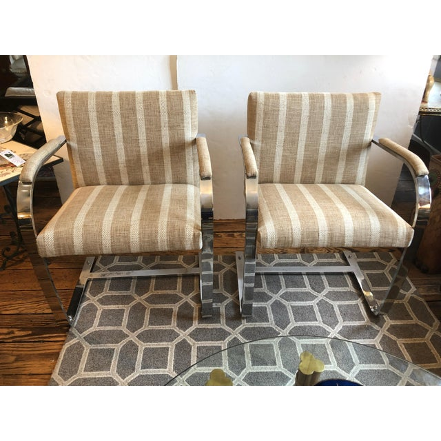 1980s Vintage Chrome & Upholstered Mid Century Modern Armchairs- A Pair For Sale - Image 11 of 11