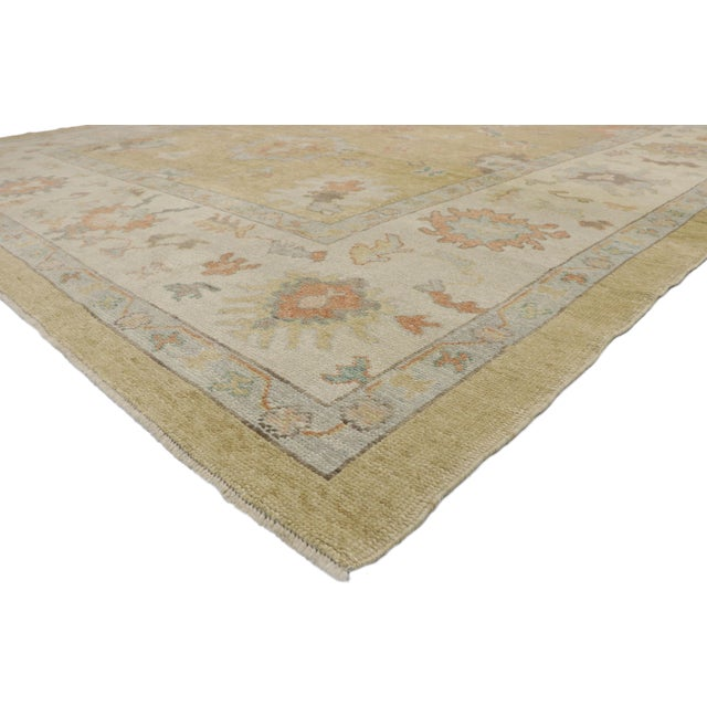 52728 New Contemporary Turkish Oushak Rug with Transitional Style 10'02 x 13'02. Blending elements from the modern world...