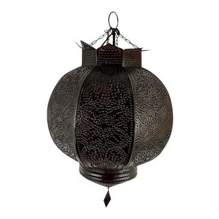 Brass Moroccan Style Punched Pendant Light by Arte De Mexico For Sale