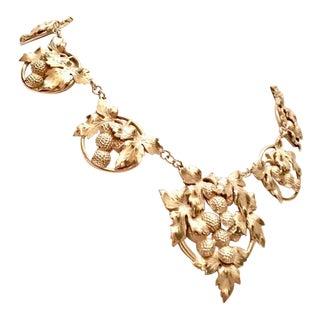 Art Nouveau George Jensen Style Sterling Silver Grape Cluster Necklace For Sale