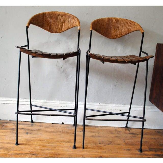 Mid-Century Modern Arthur Umanoff Mid-Century Bar Stools- A Pair For Sale - Image 3 of 11