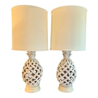 Italian Glazed Terra Cotta Lattice Lamps - a Pair For Sale