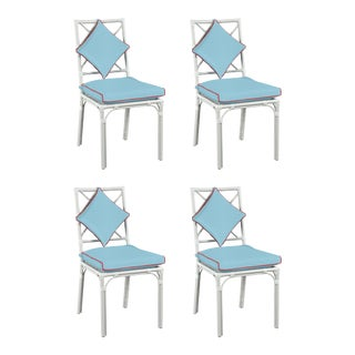 Haven Outdoor Dining Chair, Canvas Air Blue with Canvas Jockey Red Welt, Set of Four For Sale