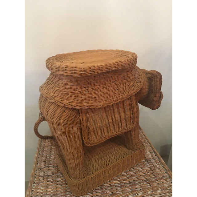 Brown Vintage Wicker Ram Garden Stool Plant Stand For Sale - Image 8 of 10