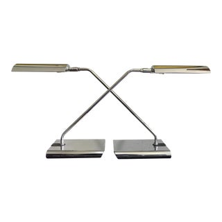 Koch & Lowy Articulating Chrome Desk Lamps, a Pair For Sale