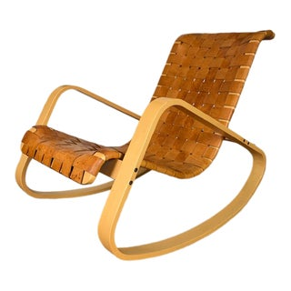 1950s Wood and Leather Dwr Dondola Rocker For Sale