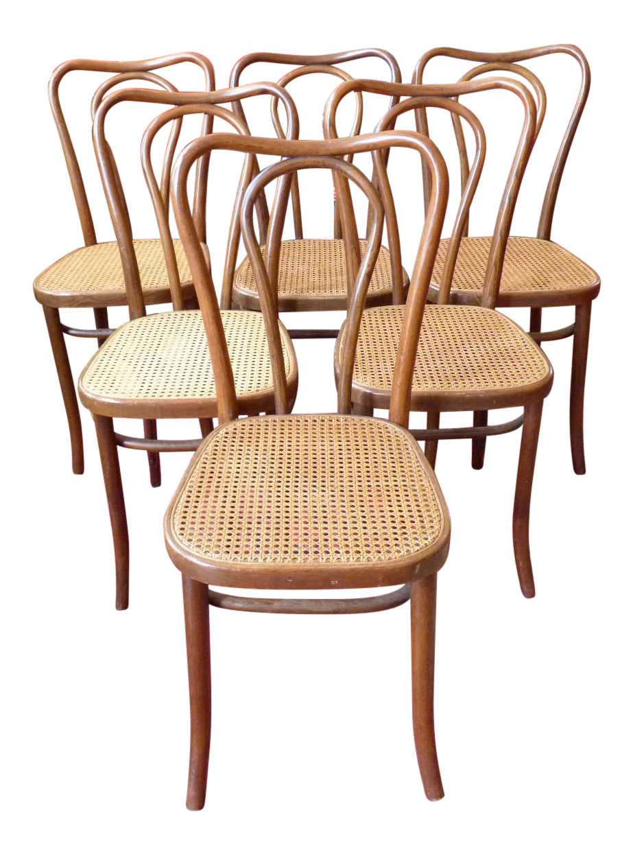 Vintage Bentwood And Cane Cafe Dining Chairs   Set Of 6