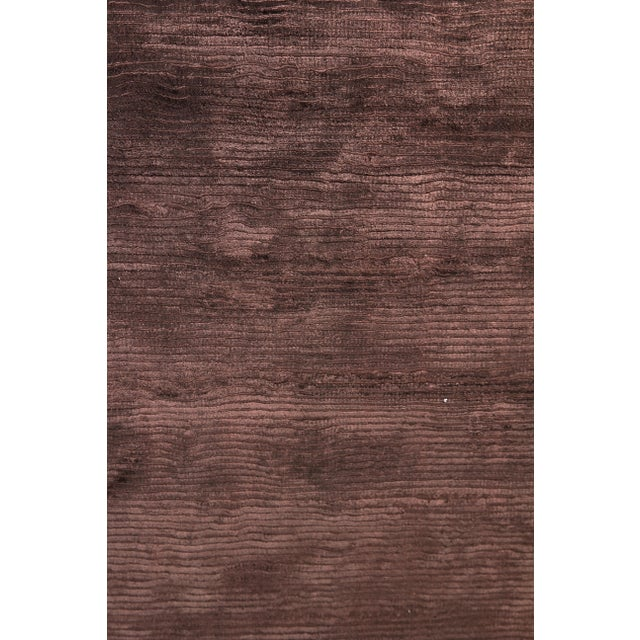 Silk Exquisite Rugs Ives Hand loom Viscose Brown Rug-14'x18' For Sale - Image 7 of 10