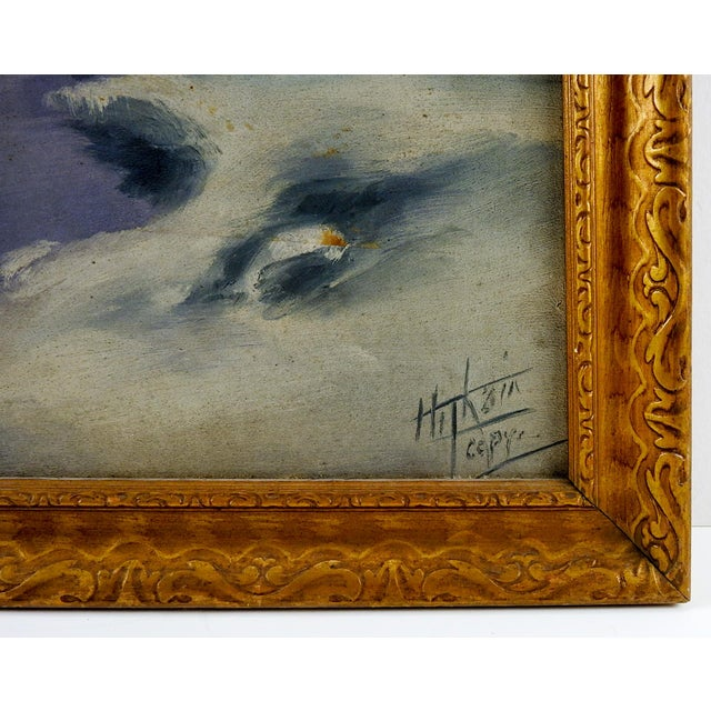"Traditional Circa 1920 ""Moonlight in Winter"" Oil Painting For Sale - Image 3 of 3"