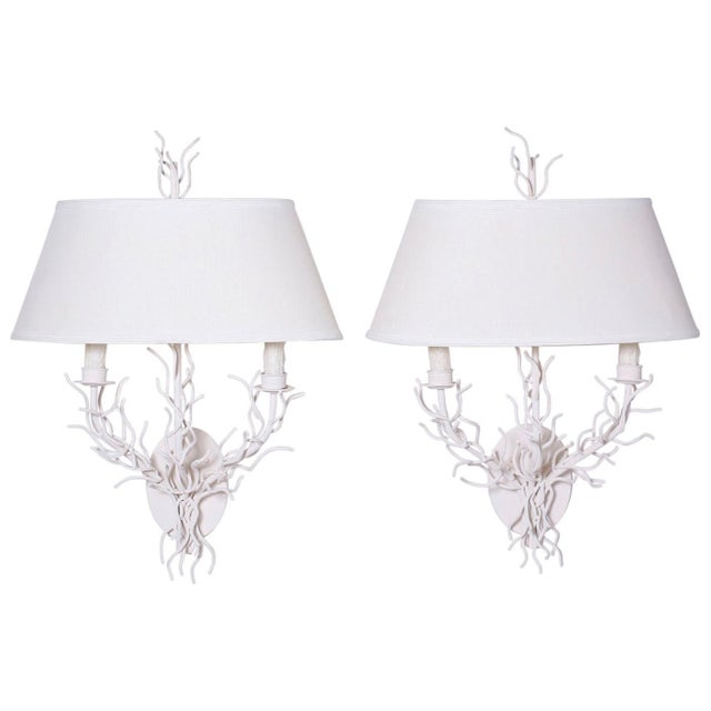 White Midcentury Faux Coral Wall Sconces - A Pair For Sale - Image 8 of 8