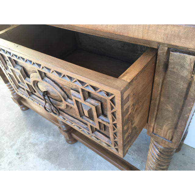 Early 19th Century Carved Walnut Wood Catalan Spanish Console Table For Sale - Image 11 of 13