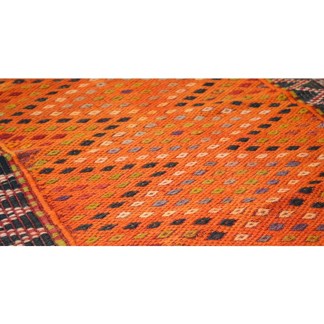 Vintage Turkish Anatolian hand woven kilim with natural colors,organic wool and geometric pattern.