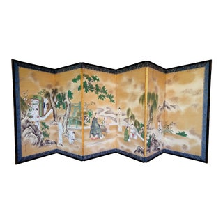 Rare Antique Japanese Folding Screen by Kano Tanshin For Sale