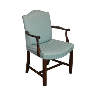 George III Style Antique Mahogany Frame Armchair For Sale