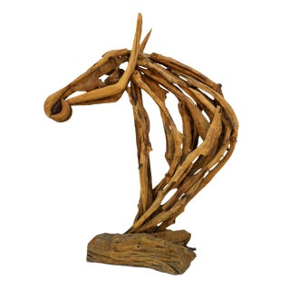 Contemporary Teak Horse Head Sculpture For Sale