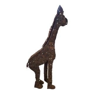 1900s Vintage Metal Giraffe Yard Art Sculpture For Sale