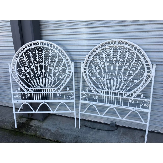 White Vintage White Wicker Twin Headboards - a Pair For Sale - Image 8 of 8