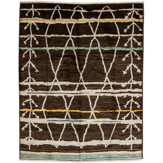 """Contemporary Moroccan Hand-Knotted Rug - 7' 9"""" x 9' 8"""" - Image 1 of 3"""