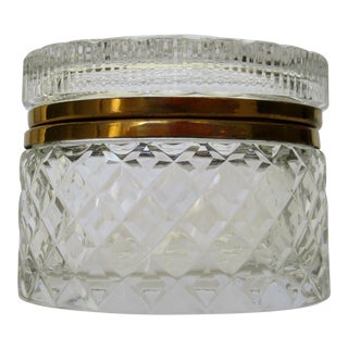 Victorian Cut & Beveled Crystal Glass & Brass Oval-Shaped Lidded Jewelry Box