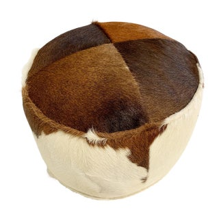 Tri-Color Cowhide Pouf Ottoman For Sale