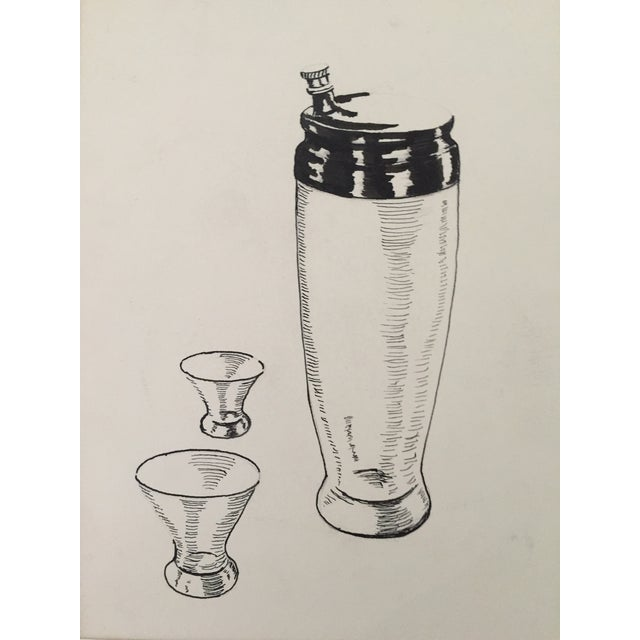 Mid Century Cocktail Shaker Pen & Ink Drawing - Image 1 of 4