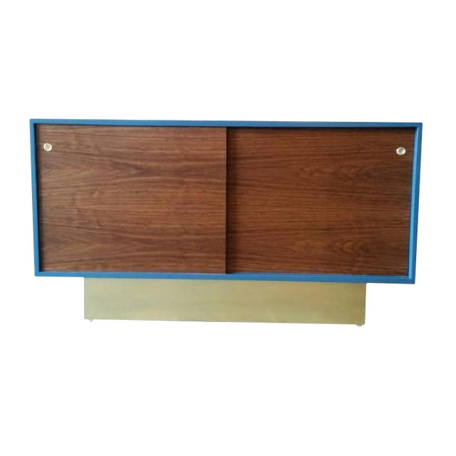 Vintage Custom Blue Lacquer Brass Credenza - Image 1 of 6