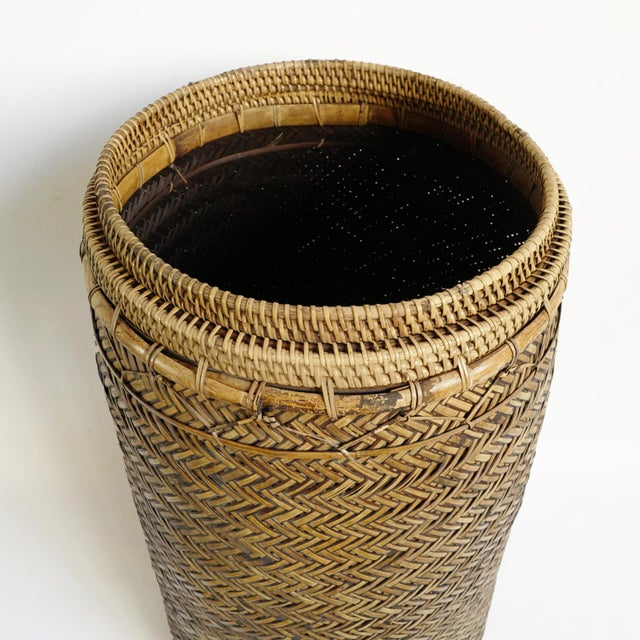 Asian Bamboo Basket With Lid For Sale - Image 3 of 6