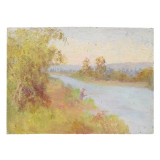 Fishing in a River, Impressionist Landscape, Oil Painting, Circa 1900-1930s For Sale
