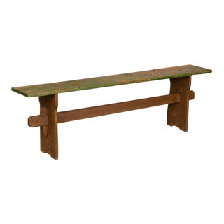 Narrow Antique Green Painted Pine Bench For Sale