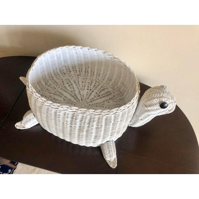 Hollywood Regency Vintage White Wicker Turtle Basket For Sale - Image 3 of 8