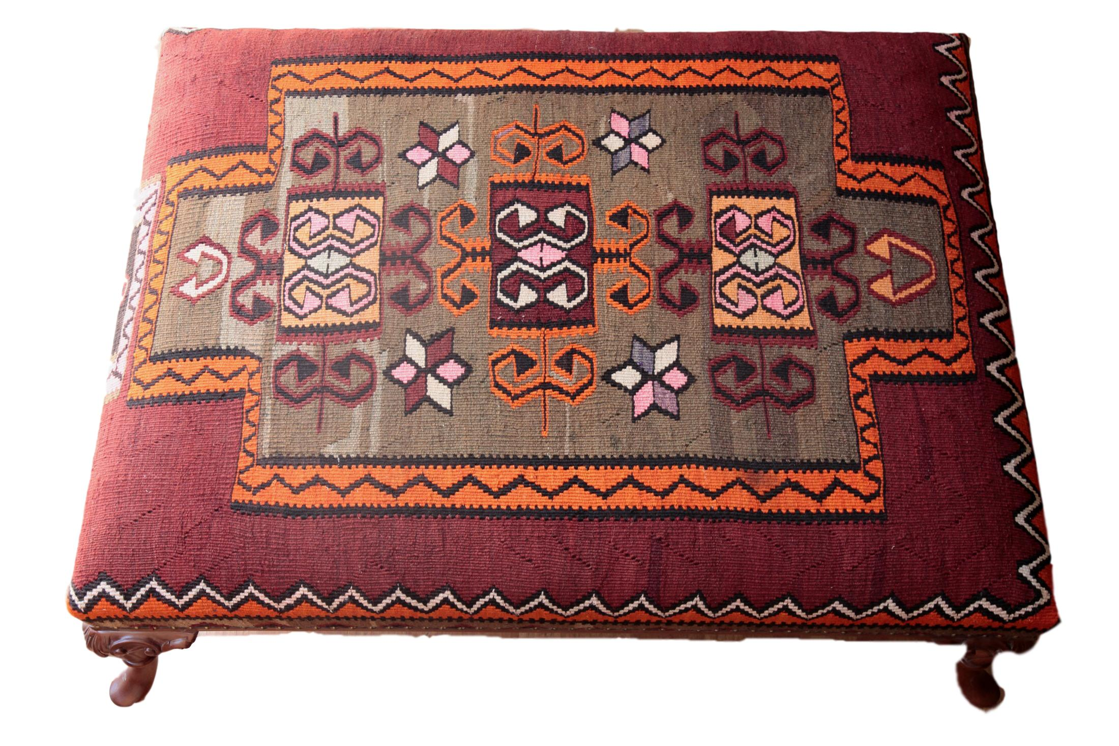 Vintage Kilim Upholstered Coffee Table For Sale   Image 10 Of 12