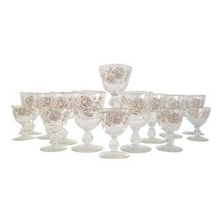 Vintage White Rose Garden Wine & Cordial Glasses - Set of 14 For Sale