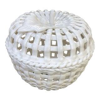 Vintage Basket Weave Blanc De Chine Pierced Ceramic Dish For Sale