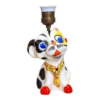 1930s Ceramic Czech Dog Lamp For Sale