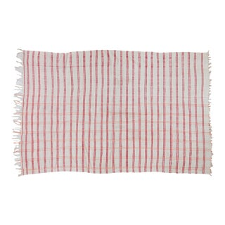 """Vintage Moroccan Plaid Textile Throw Rug - 4'3"""" X 6'3"""" For Sale"""