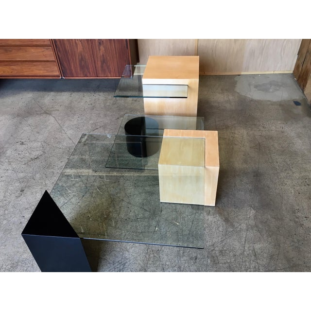 Late 20th Century Late 20th Century Modern Geometric Wood and Glass Multi-Level Coffee Table For Sale - Image 5 of 8