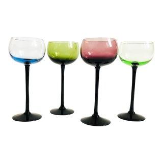 Mid Century Black Stem Rainbow Coupe Glasses - Set of 4 For Sale