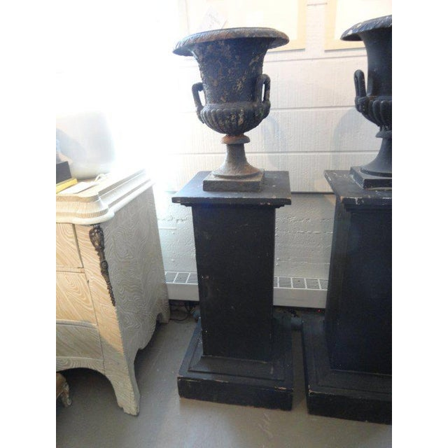 Pair of Black Iron Urns on Pedestals - Image 2 of 6