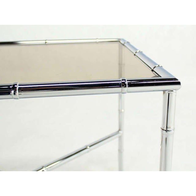 Contemporary Pair of Faux Bamboo Chrome and Smoked Glass End Tables For Sale - Image 3 of 10