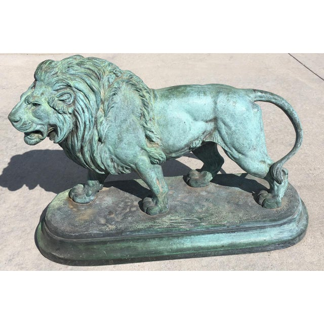 French Paul-Edouard Delabrierre Bronze Lions - a Pair For Sale - Image 3 of 13